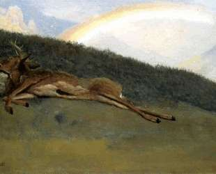 Rainbow over a Fallen Stag — Альберт Бирштадт