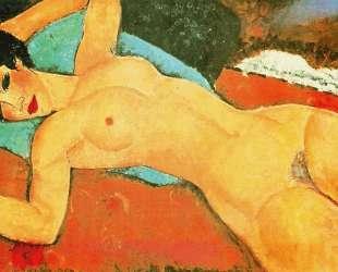 Лежащая обнаженная с раскинутыми руками (Красная обнаженная) — Амедео Модильяни