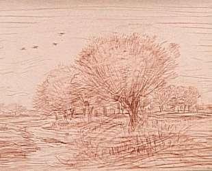 Речной пейзаж: ручей, пересекающий лесистый луг — Шарль-Франсуа Добиньи