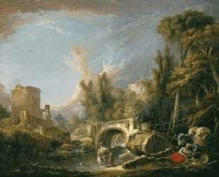 Речной пейзаж с руинами моста — Франсуа Буше