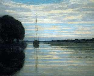 Вид на реку с лодкой. Солнце — Пит Мондриан