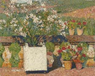 Roses and Geraniums on the Terrace at Marquayrol — Анри Мартен
