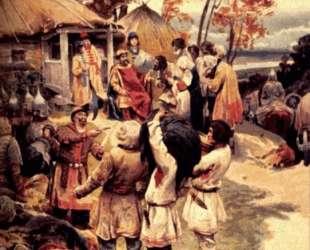 Russian knyaz Igor exacts tribute from the Drevlyans in 945 — Клавдий Лебедев