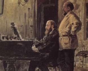 С. И.Мамонтов и П. А.Спиро у рояля — Василий Поленов