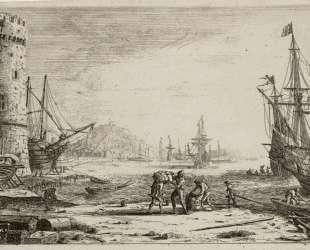 Seaport with a big tower — Клод Лоррен