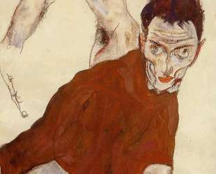 Self portrait in a jerkin with right elbow raised — Эгон Шиле