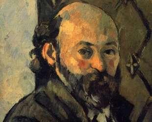 Self-portrait in front of olive wallpaper — Поль Сезанн
