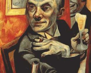 Self-portrait with champagne glass — Макс Бекман
