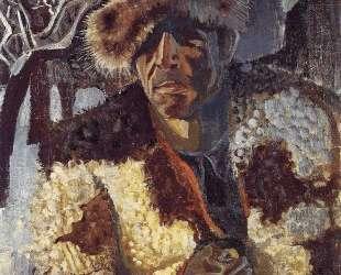Self-portrait with fur cap — Отто Дикс