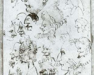 Sheet of caricatures — Аннибале Карраччи