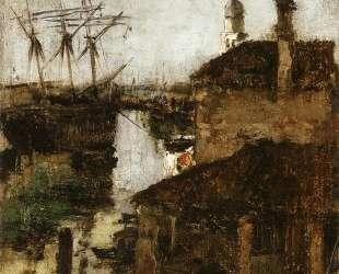 Ship and Dock, Venice — Джон Генри Твахтман (Tуоктмен)