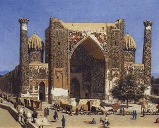 Shir Dor madrasah in Registan Square in Samarkand — Василий Верещагин