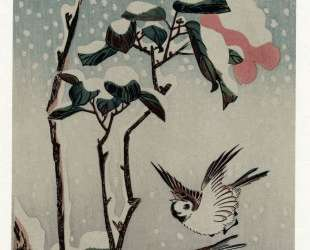 Sparrows and Camellias in the Snow — Хиросиге