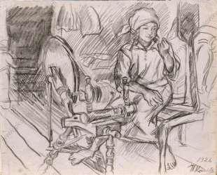 Пряха. Рисунок для картины 'Пряха'. — Пётр Кончаловский