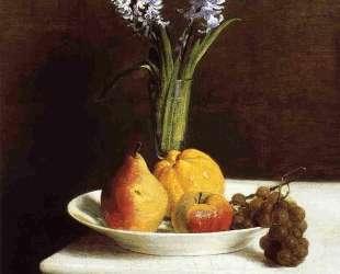 Still Life Hyacinths and Fruit — Анри Фантен-Латур