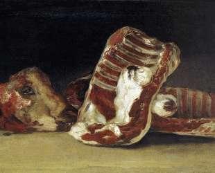 Still life of Sheep's Ribs and Head — The Butcher's conter — Франсиско де Гойя