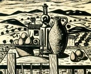 Still life, table figs, jar, bottle of anise — Рафаэль Забалета