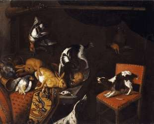 Still Life with dead hares and birds, armchair, hounds, hunting gun — Франс Снейдерс