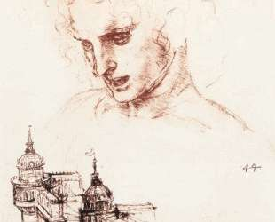 Study of an apostle's head and architectural study — Леонардо да Винчи