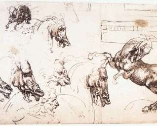 Study of horses for the Battle of Anghiari — Леонардо да Винчи