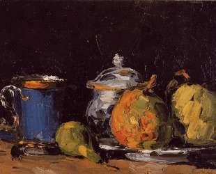 Sugar Bowl, Pears and Blue Cup — Поль Сезанн