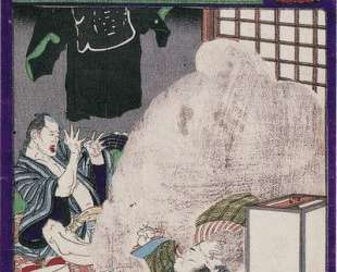 The black monster attacking the wife of a carpe — Цукиока Ёситоси