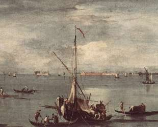 The Lagoon with Boats, Gondolas, and Rafts — Франческо Гварди