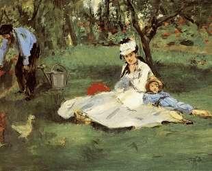 Семья Моне в их саду в Аржантее — Эдуард Мане