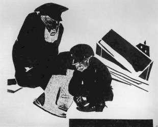 Старик и мальчик. Рисунок для журнала «У станка» — Александр Дейнека