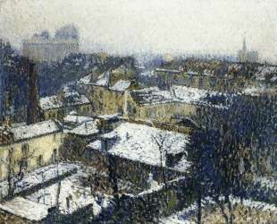 The Roofs of Paris in the Snow, the View from the Artist's Studio — Анри Мартен
