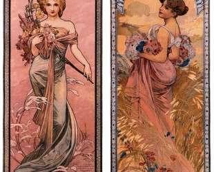 The seasons (Spring, Summer) — Альфонс Муха