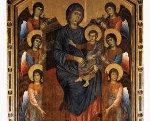 Богородица с младенцем в величии, окруженная шестью ангелами — Чимабуэ