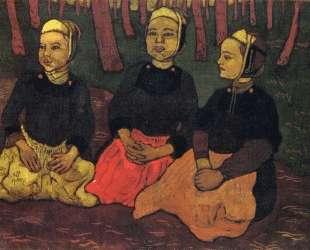 Three Breton Women in the Forest — Жорж Лякомб