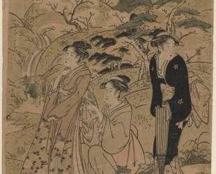 Three Courtesans Stroll Amidst Cherry Blossoms — Китагава Утамаро