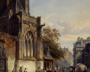 Town Square Before A Church A Capriccio — Корнелис Спрингер