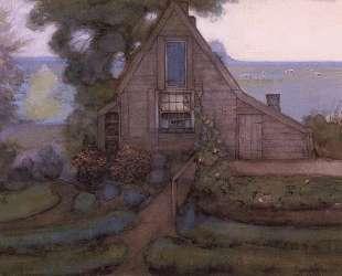 Треугольный фасад дома с польдером в голубых тонах — Пит Мондриан