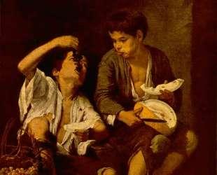 Two Children Eating a Melon and Grapes — Бартоломе Эстебан Мурильо