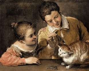 Two Children Teasing a Cat — Аннибале Карраччи