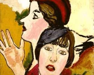 Two female heads in profile — Жан Дюбюффе