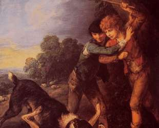 Two Shepherd Boys with Dogs Fighting — Томас Гейнсборо