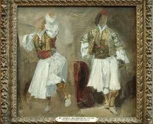 Два ракурса костюма сулиотов — Эжен Делакруа