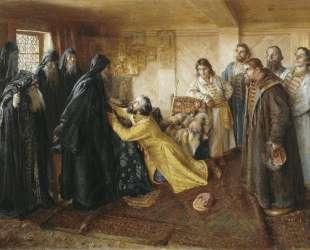 Tzar Ivan the Terrible asks Abbot Cornelius to mow him to the monks — Клавдий Лебедев