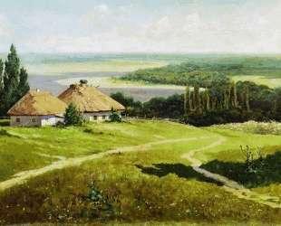 Украинский пейзаж с хатами — Владимир Маковский