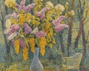 Vase of Flowers in a Garden — Анри Мартен
