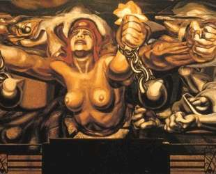 View of a mural depicting Democracy breaking her chains — Давид Альфаро Сикейрос