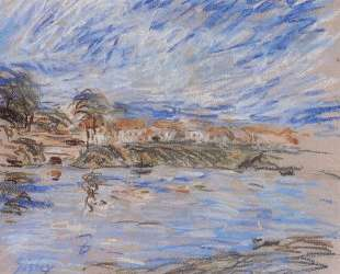 View of a Village by a River — Альфред Сислей