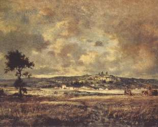 View of the plain of Montmartre X effect of storm — Теодор Руссо