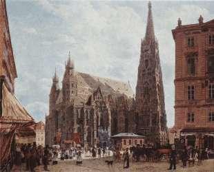 View of the Stephansdom from Stock im Eisen Platz — Рудольф фон Альт