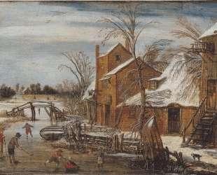 Winter scene with skaters — Эсайас ван де Вельде