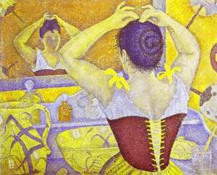 Woman at her toilette wearing a purple corset — Поль Синьяк
